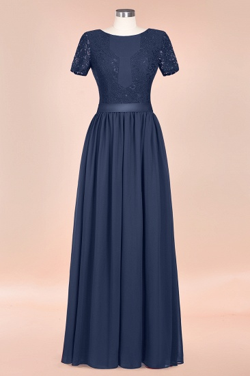 Elegant Chiffon Lace Jewel Short-Sleeves Affordable Bridesmaid Dress_59