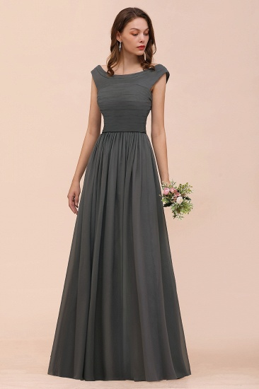 Steel Grey Off The Shoulder Ruffle Bridesmaid Dress with Slit_7