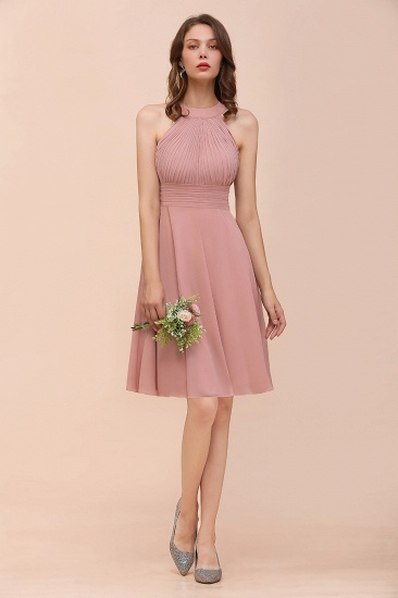 Affordable Dusty Pink Round Neck Ruffle Short Bridesmaid Dresses Online_5