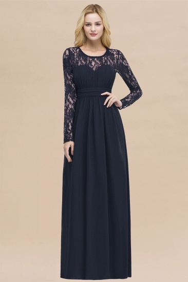 BMbridal Elegant Lace Burgundy Bridesmaid Dresses Online with Long Sleeves_28