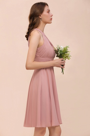 Affordable Dusty Pink Round Neck Ruffle Short Bridesmaid Dresses Online_7