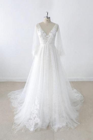 BMbridal Long Sleeve V-neck Appliques Tulle Wedding Dress On Sale_1