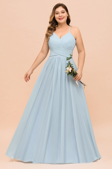 Plus Size V-Neck Ruffle Chiffon Sky Blue Bridesmaid Dresses Online_5