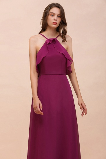 Stylish Spaghetti Straps Mulberry Chiffon Bridesmaid Dress with Ruffles_8