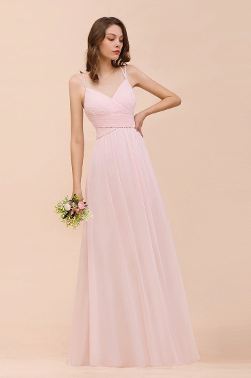 Gorgeous Chiffon Ruffle Blushing Pink Bridesmaid Dress with Spaghetti Straps_5