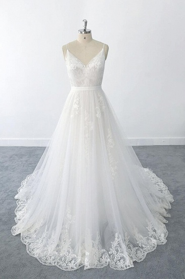BMbridal Amazing Ruffle Appliques Tulle A-line Wedding Dress On Sale_1
