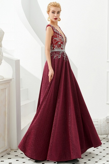 Shinning Bugrundy Crystal  Prom Dress Long V-Neck Sleeveless Evening Gowns_7