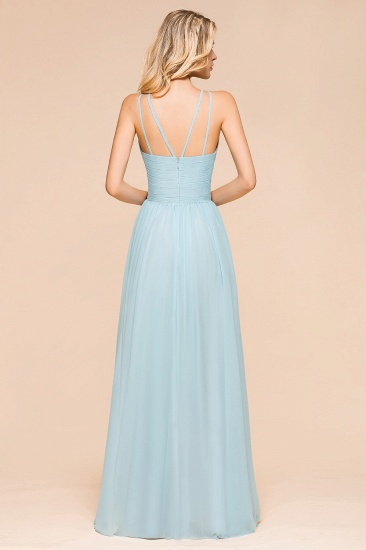 Gorgeous Halter Ruffle Sky Blue Affordable Bridesmaid Dress_3