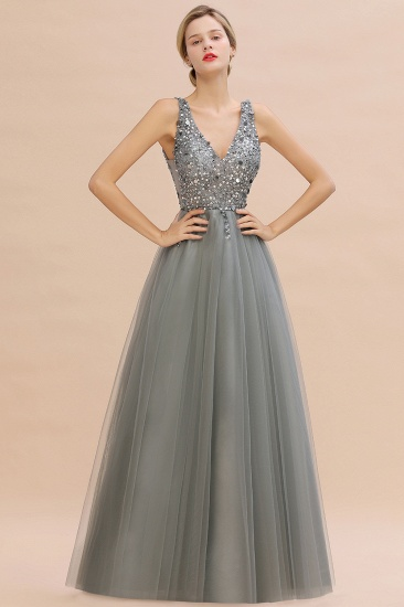 BMbridal Glamorous V-Neck Sleeveless Prom Dress Long Tulle Evening Gowns With Crystals_12