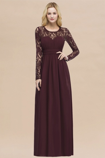 BMbridal Elegant Lace Burgundy Bridesmaid Dresses Online with Long Sleeves_47