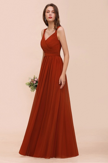 BMbridal New Arrival Gorgeous Straps Ruffle Rust Long Bridesmaid Dress_7