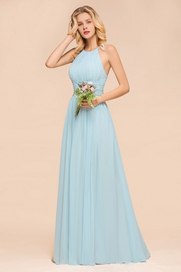 Gorgeous Halter Ruffle Sky Blue Affordable Bridesmaid Dress_6