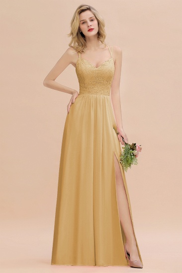 Sexy Spaghetti-Straps Coral Lace Bridesmaid Dresses with Slit_14