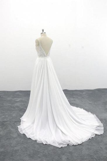 BMbridal Spaghetti Strap Lace Chiffon A-line Wedding Dress On Sale_5