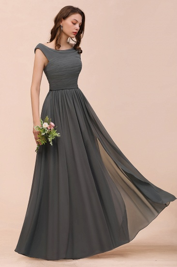 Steel Grey Off The Shoulder Ruffle Bridesmaid Dress with Slit_5
