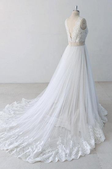 BMbridal Elegant V-neck Lace Tulle A-line Wedding Dress On Sale_4