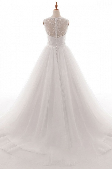 BMbridal Eye-catching V-neck Tulle A-line Wedding Dress On Sale_3
