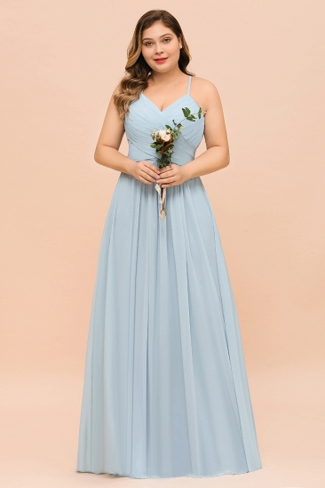 Plus Size V-Neck Ruffle Chiffon Sky Blue Bridesmaid Dresses Online_8