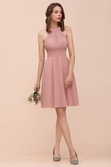 Affordable Dusty Pink Round Neck Ruffle Short Bridesmaid Dresses Online_4