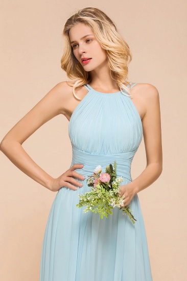 Gorgeous Halter Ruffle Sky Blue Affordable Bridesmaid Dress_8