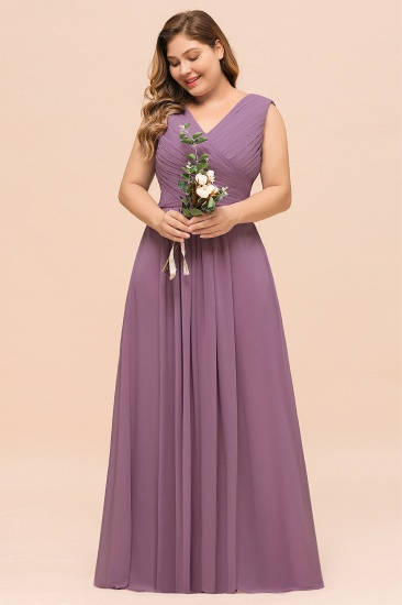 Elegant Wisteria Sleeveless Ruffle Plus size Bridesmaid Dress_9