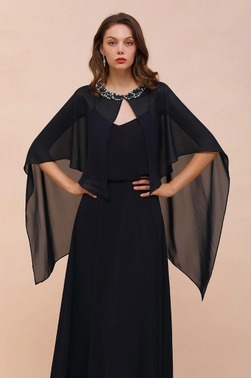 BMbridal Dark Navy Chiffon Special Occasions Wrap_5