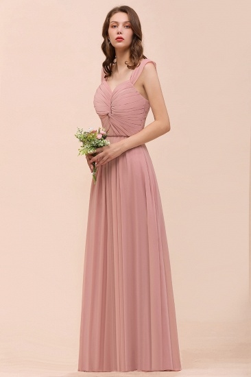 Vintage Mauve Chiffon Straps Ruffle Affordable Bridesmaid Dress_8