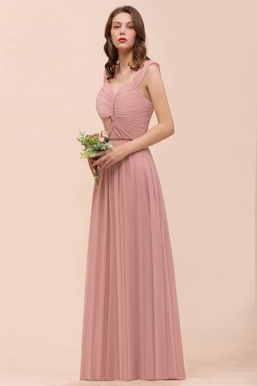 BMbridal Vintage Mauve Chiffon Straps Ruffle Affordable Bridesmaid Dress_8
