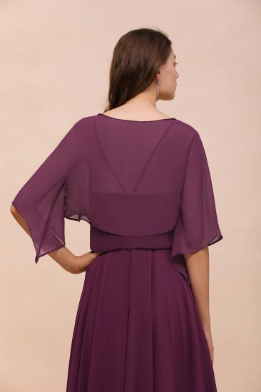 BMbridal Grape Chiffon 3/4 Sleeves Special Occasions Wrap_3