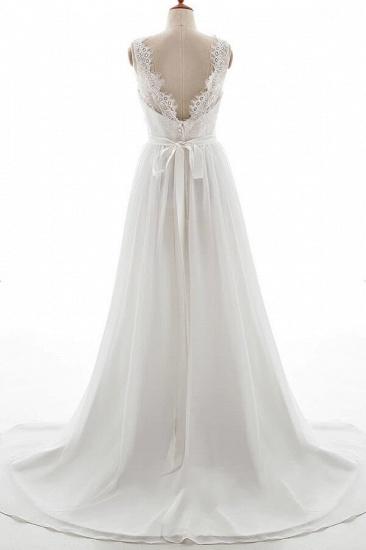 BMbridal Affordable V-neck Lace Chiffon A-line Wedding Dress On Sale_3