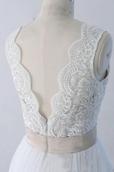 BMbridal Elegant V-neck Lace Tulle A-line Wedding Dress On Sale_7