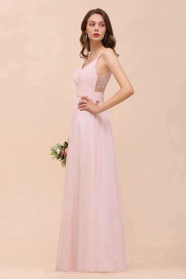 Gorgeous Chiffon Ruffle Blushing Pink Bridesmaid Dress with Spaghetti Straps_7