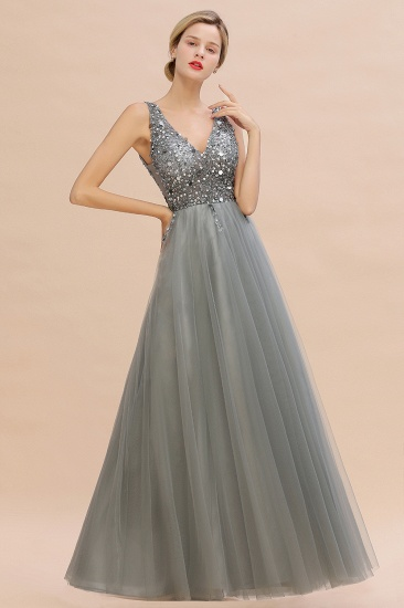 BMbridal Glamorous V-Neck Sleeveless Prom Dress Long Tulle Evening Gowns With Crystals_13
