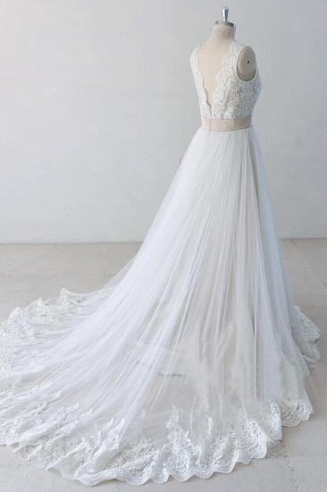 BMbridal Elegant V-neck Lace Tulle A-line Wedding Dress On Sale_5