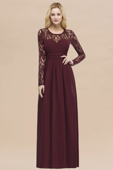 BMbridal Elegant Lace Burgundy Bridesmaid Dresses Online with Long Sleeves_10