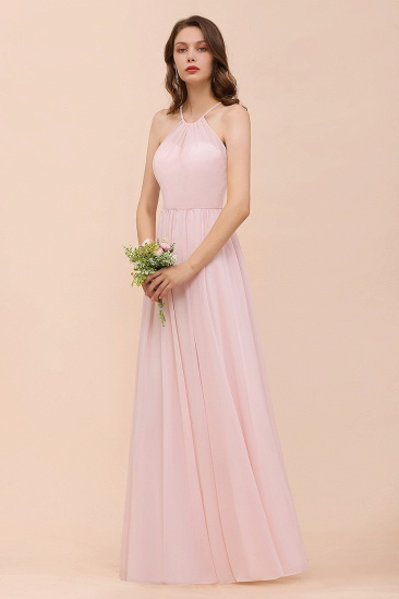 BMbridal Gorgeous Chiffon Halter Ruffle Affordable Long Bridesmaid Dress_54