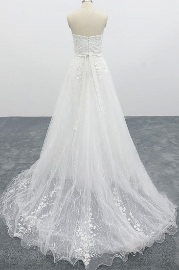 BMbridal Strapless Tulle Chapel Train A-line Wedding Dress On Sale_3