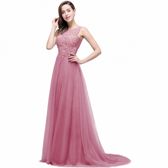 BMbridal A-line Court Train Tulle Evening Dress with Appliques_3
