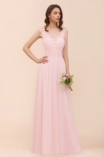 BMbridal Elegant Pink Lace Straps Ruffle Affordable Bridesmaid Dress_7