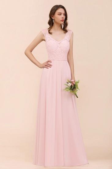Elegant Pink Lace Straps Ruffle Affordable Bridesmaid Dress_7