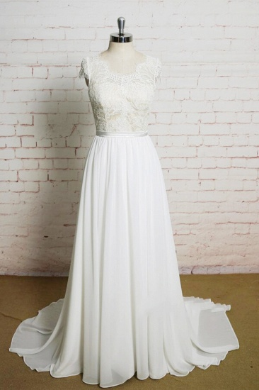 BMbridal Lace Chiffon A-line Court Train Wedding Dress On Sale_1