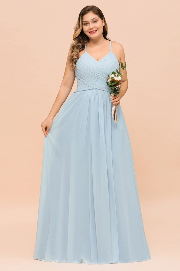 Plus size V Neck Ruffle Sky Blue Bridesmaid Dress