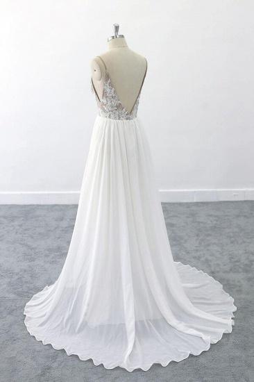 BMbridal Graceful V-neck Lace Chiffon A-line Wedding Dress On Sale_5