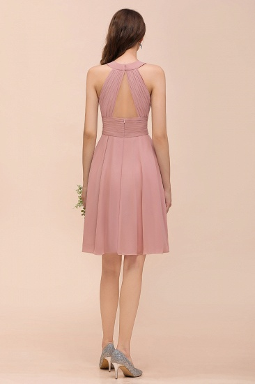 Affordable Dusty Pink Round Neck Ruffle Short Bridesmaid Dresses Online_3