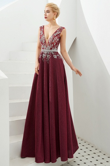 Shinning Bugrundy Crystal  Prom Dress Long V-Neck Sleeveless Evening Gowns_9