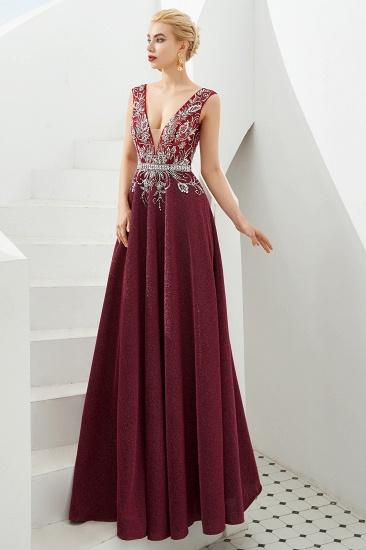 Shinning Bugrundy Crystal  Prom Dress Long V-Neck Sleeveless Evening Gowns_9