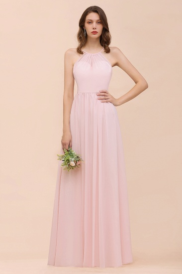 Gorgeous Chiffon Halter Ruffle Affordable Long Bridesmaid Dress
