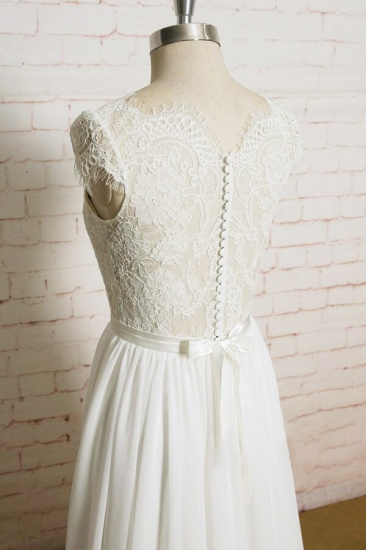 BMbridal Lace Chiffon A-line Court Train Wedding Dress On Sale_5