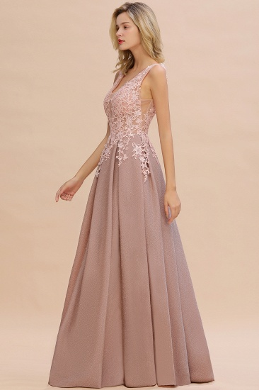 Dusty Pink V-Neck Long Prom Dress With Lace Appliques Online_11