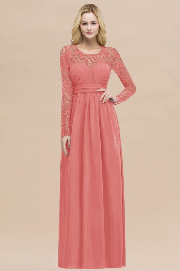 BMbridal Elegant Lace Burgundy Bridesmaid Dresses Online with Long Sleeves_7